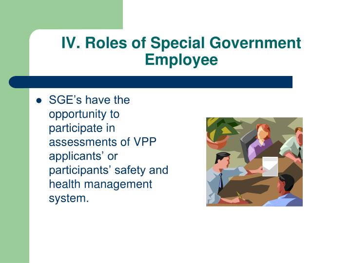 IV. Roles of Special Government Employee