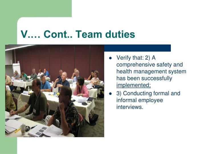 V.… Cont.. Team duties