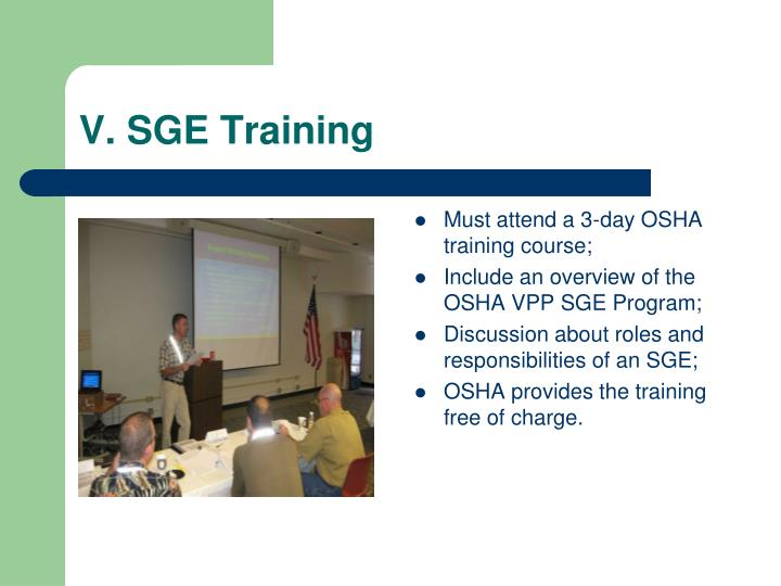 V. SGE Training