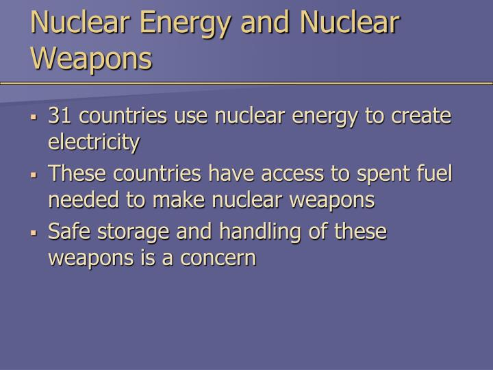 Nuclear Energy and Nuclear Weapons