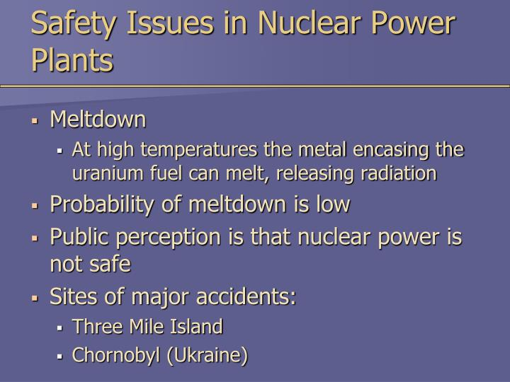 Safety Issues in Nuclear Power Plants