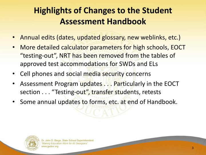 Highlights of changes to the student assessment handbook