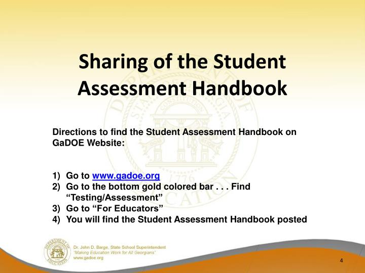 Sharing of the Student Assessment Handbook