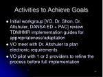 activities to achieve goals