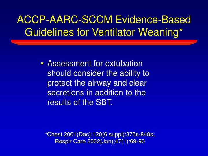 ACCP-AARC-SCCM Evidence-Based Guidelines for Ventilator Weaning*