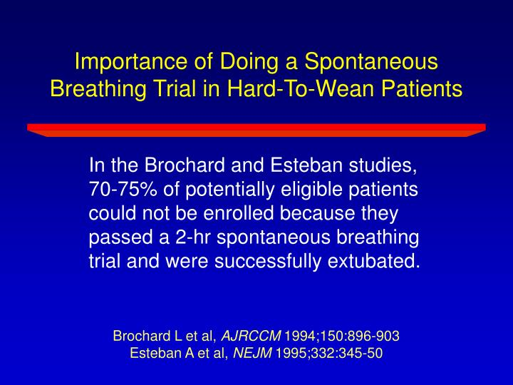 Importance of Doing a Spontaneous Breathing Trial in Hard-To-Wean Patients