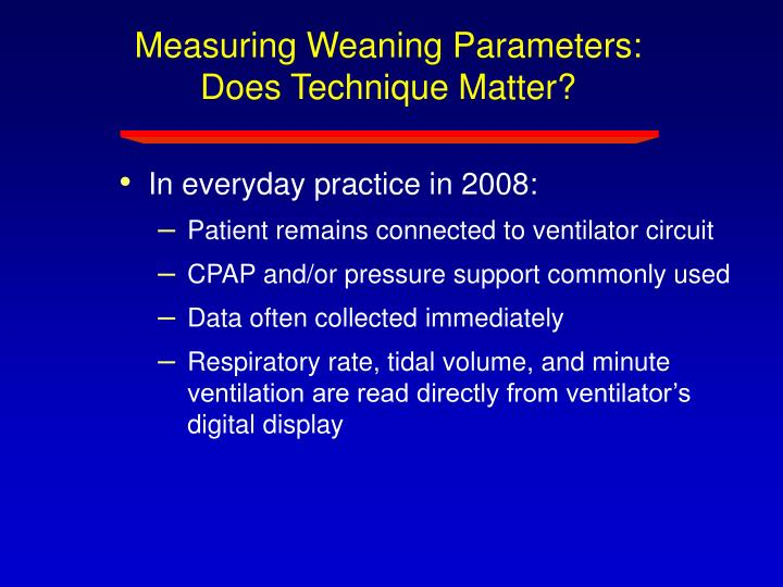 Measuring Weaning Parameters:  Does Technique Matter?