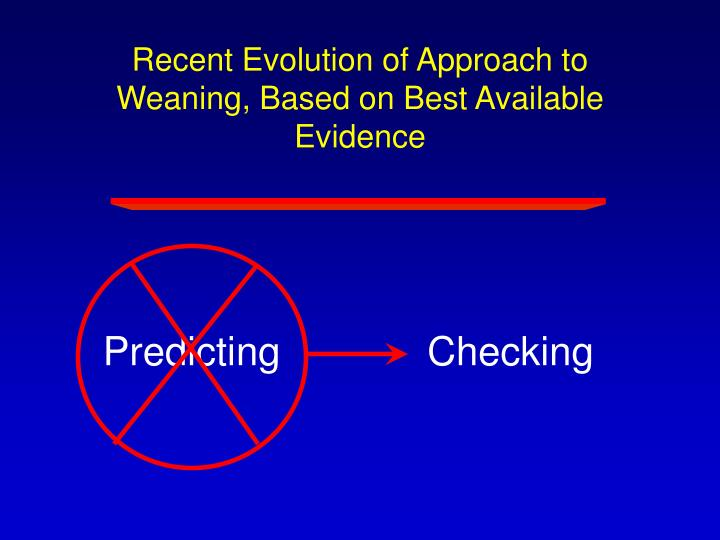 Recent Evolution of Approach to Weaning, Based on Best Available Evidence