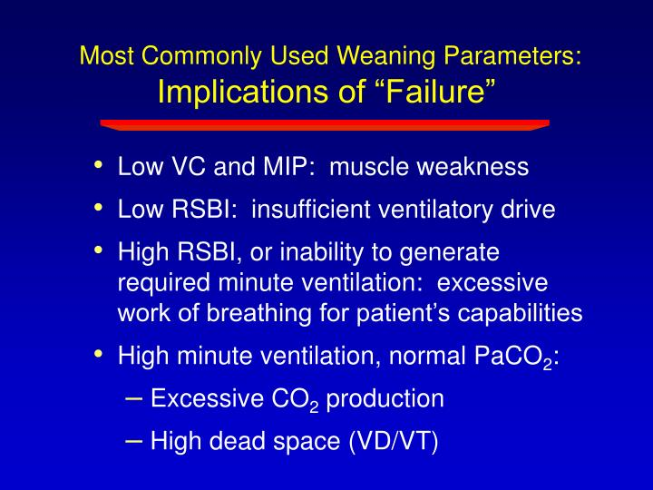 Most Commonly Used Weaning Parameters: