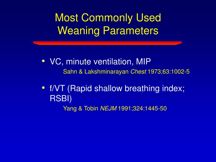 Most Commonly Used Weaning Parameters