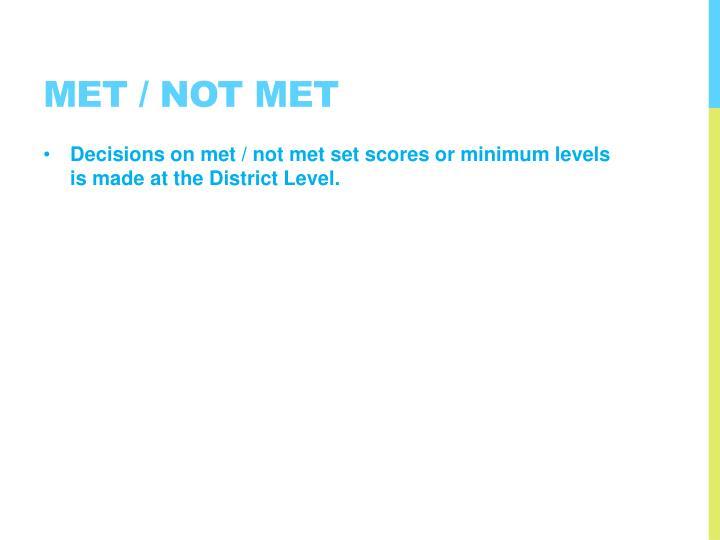 Met / Not Met