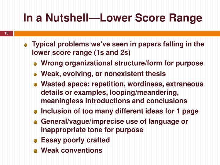 In a Nutshell—Lower Score Range