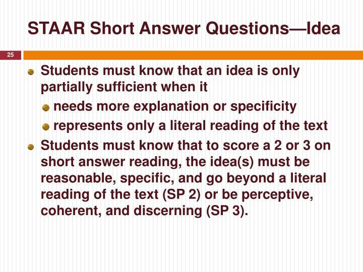 STAAR Short Answer Questions—Idea