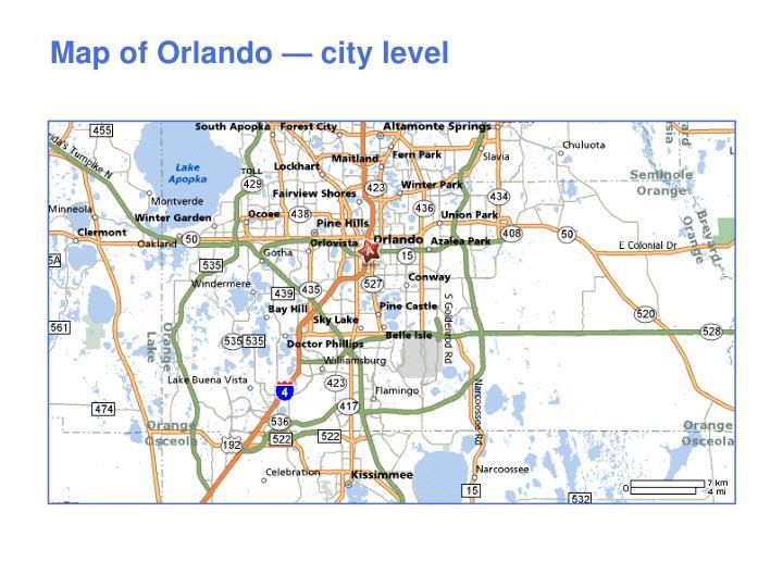 Map of Orlando — city level