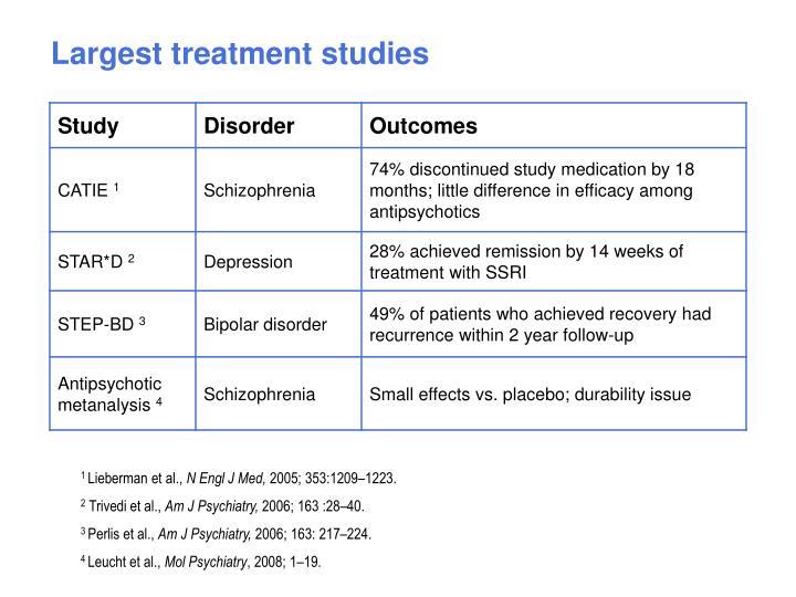 Largest treatment studies