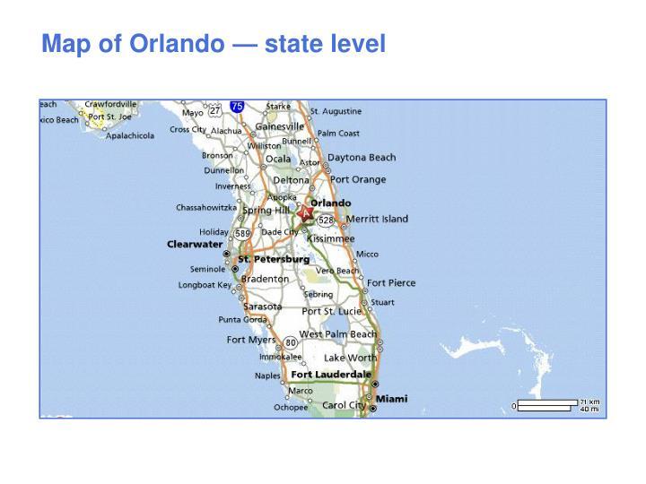 Map of Orlando — state level