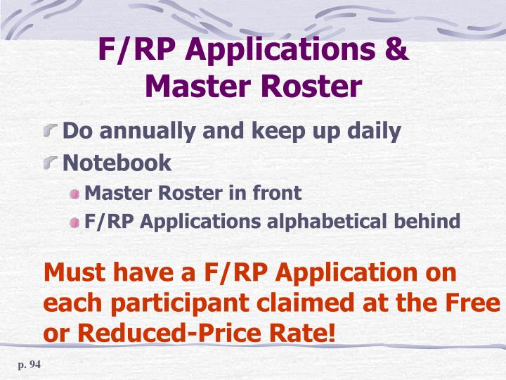 F/RP Applications & Master Roster