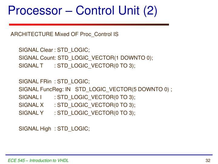 Processor – Control Unit (2)