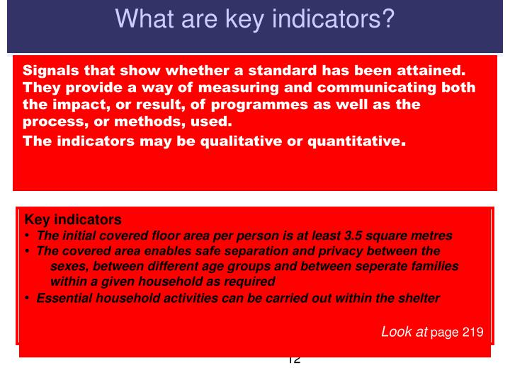 What are key indicators?