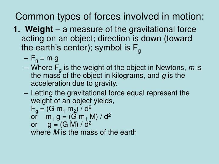 Common types of forces involved in motion: