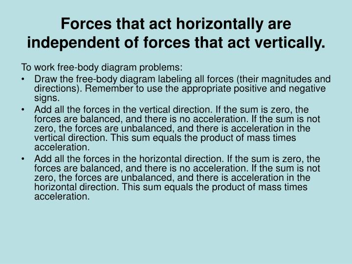 Forces that act horizontally are independent of forces that act vertically.