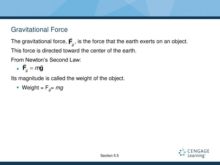 The gravitational force,