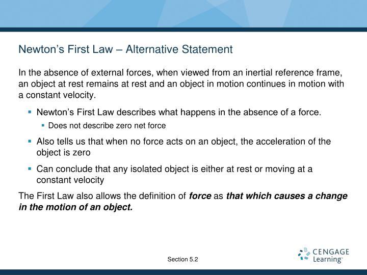 Newton's First Law – Alternative Statement