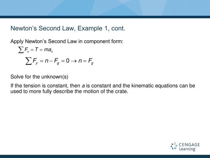 Newton's Second Law, Example 1, cont.