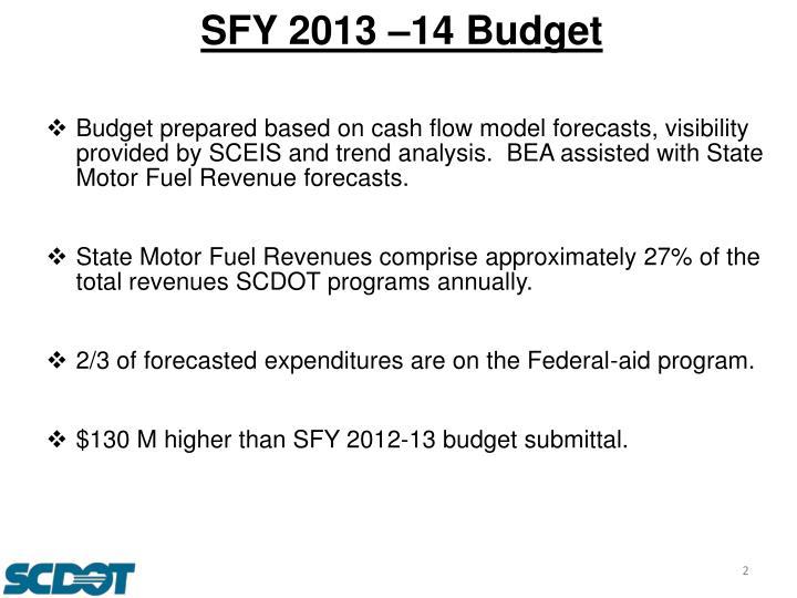 SFY 2013 –14 Budget