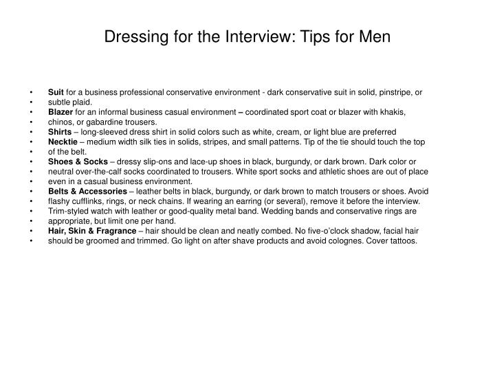 Dressing for the Interview: Tips for Men