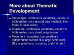more about thematic development