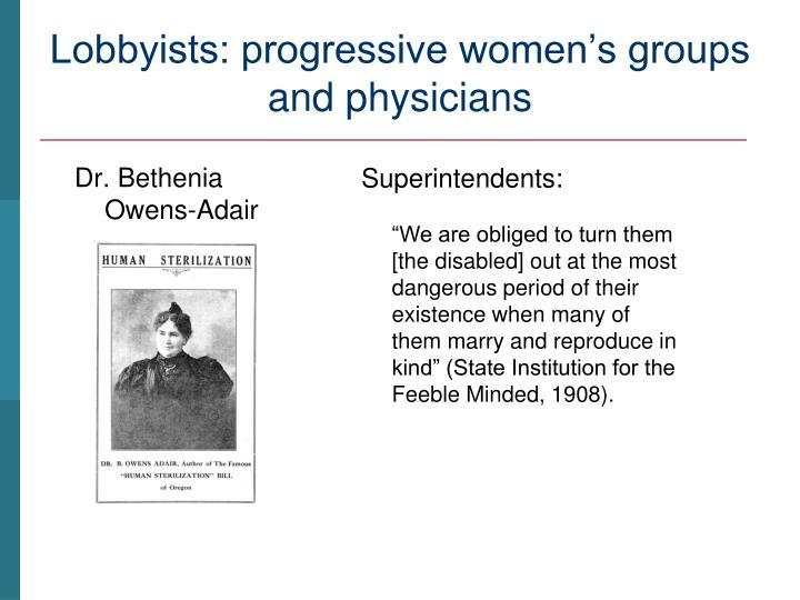 Lobbyists: progressive women's groups