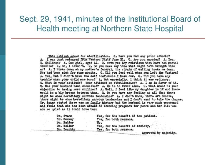 Sept. 29, 1941, minutes of the Institutional Board of Health meeting at Northern State Hospital