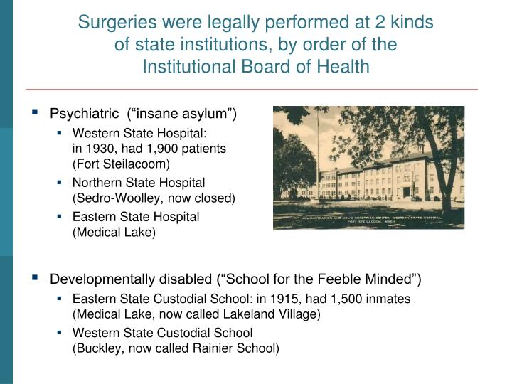 Surgeries were legally performed at 2 kinds