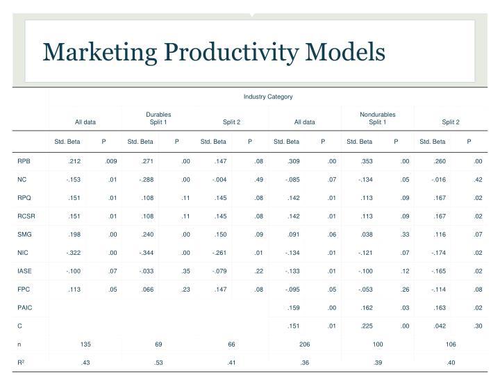 Marketing Productivity Models