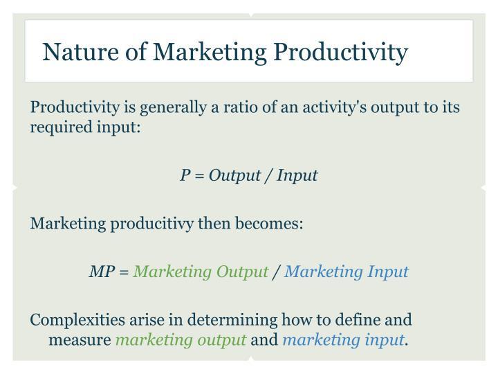 Nature of marketing productivity