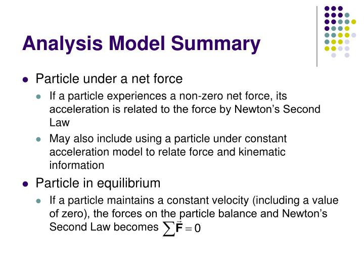 Analysis Model Summary