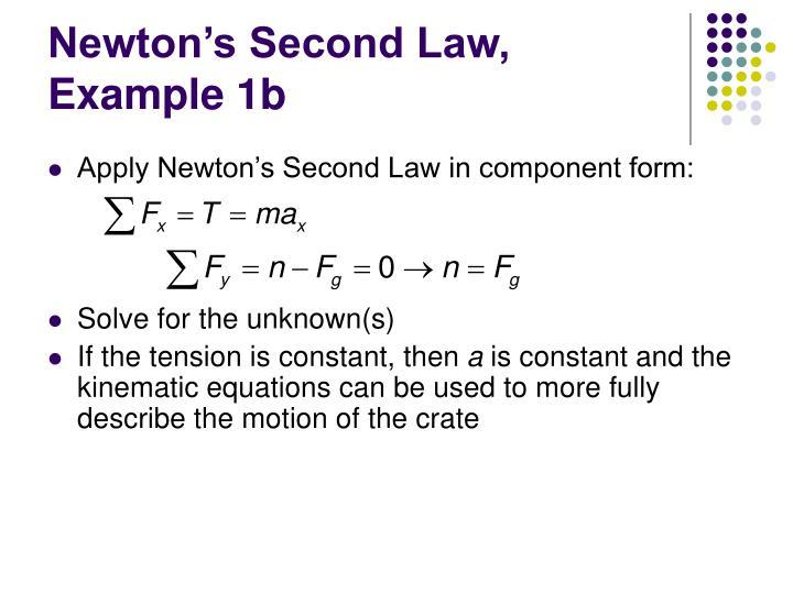 Newton's Second Law, Example 1b