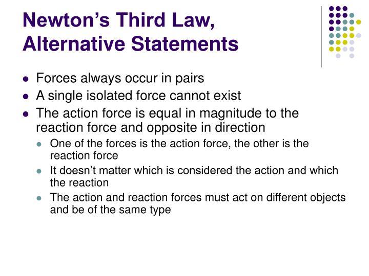 Newton's Third Law, Alternative Statements