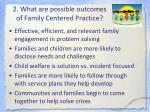 2 what are possible outcomes of family centered practice