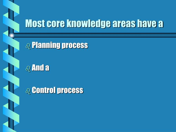 Most core knowledge areas have a