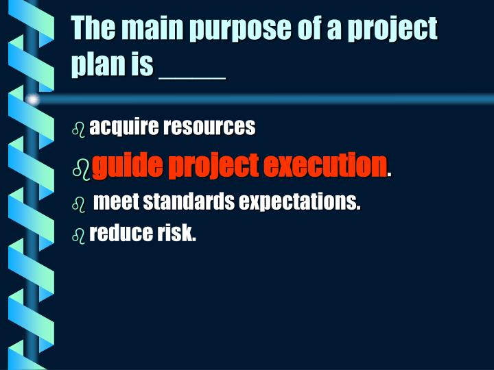 The main purpose of a project plan is ____