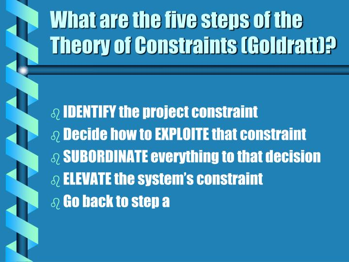 What are the five steps of the Theory of Constraints (Goldratt)?
