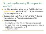 dependency preserving decomposition into 3nf