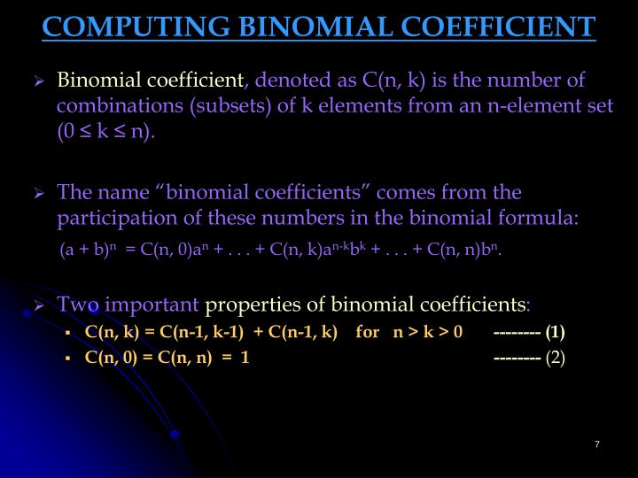 COMPUTING BINOMIAL COEFFICIENT