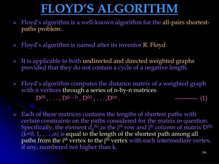 FLOYD'S ALGORITHM
