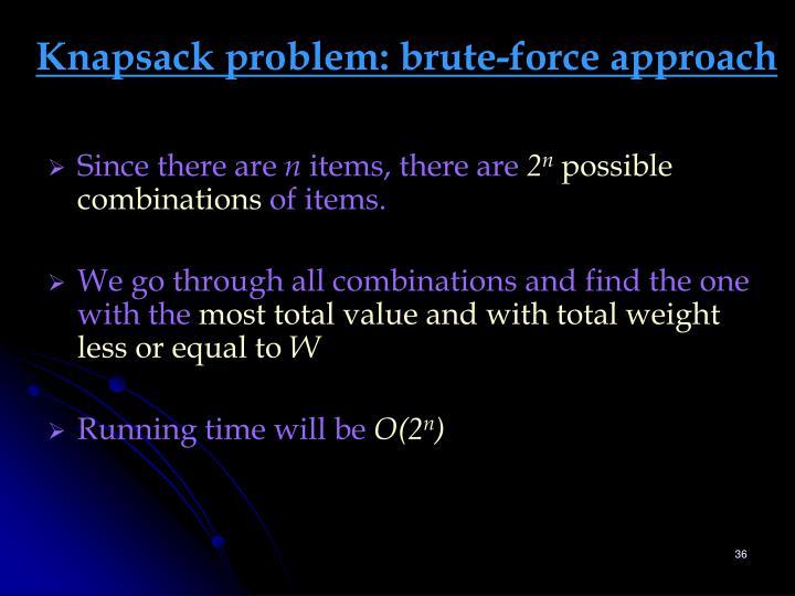 Knapsack problem: brute-force approach