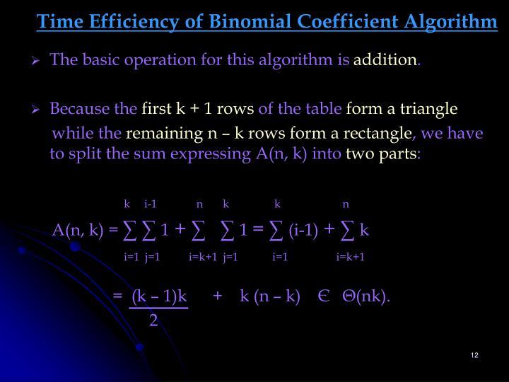 Time Efficiency of Binomial Coefficient Algorithm