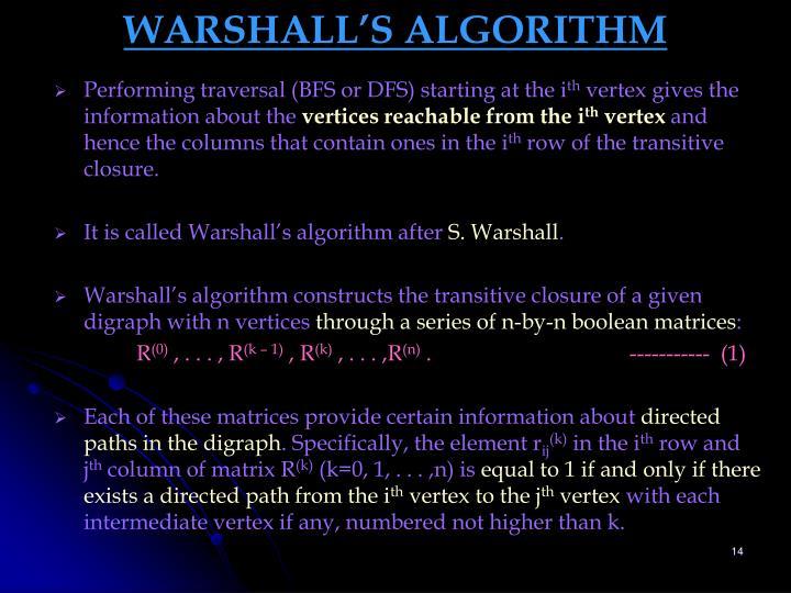 WARSHALL'S ALGORITHM