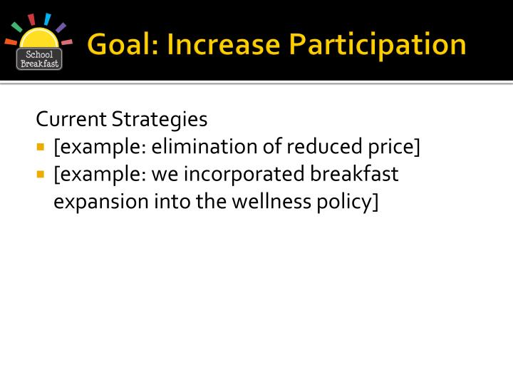 Goal: Increase Participation